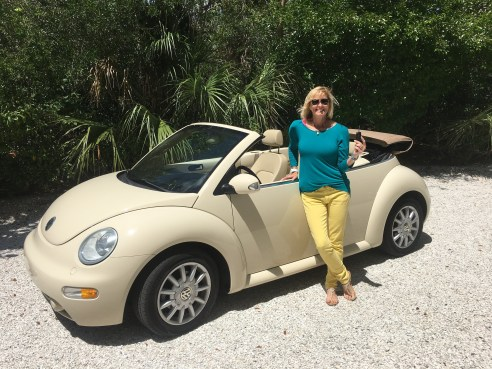 Pam-with-plain-VW-convertible